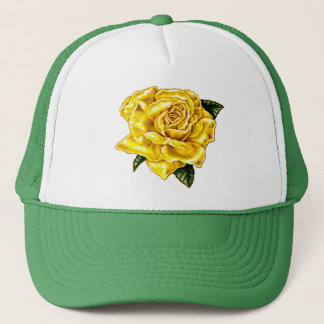 Painted Yellow Rose Trucker Hat