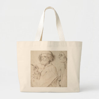 Painter and Connoisseur by Pieter Bruegel Large Tote Bag