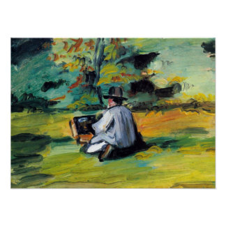 Painter at Work by Paul Cezanne, Vintage Fine Art Poster