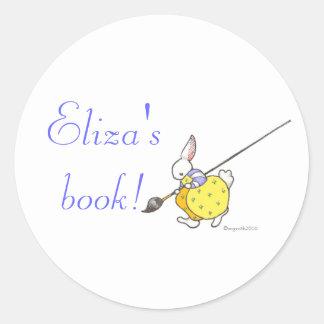 painter bunny bookplate classic round sticker
