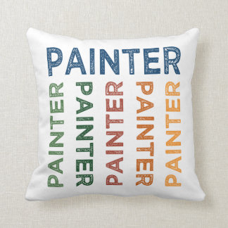 Painter Cute Colorful Throw Pillow