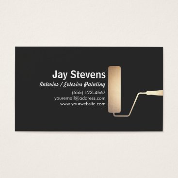 Professional Business Painter Gold Paint Roller Black Business card