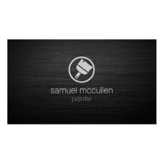 Painter Paint Brush Icon Brushed Metal Skills Business Card