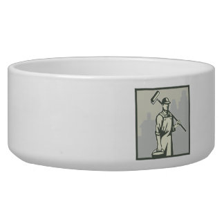 Painter Paint Roller Worker House Retro Dog Bowl