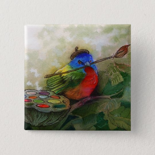 Painter Painted Bunting Bird Button