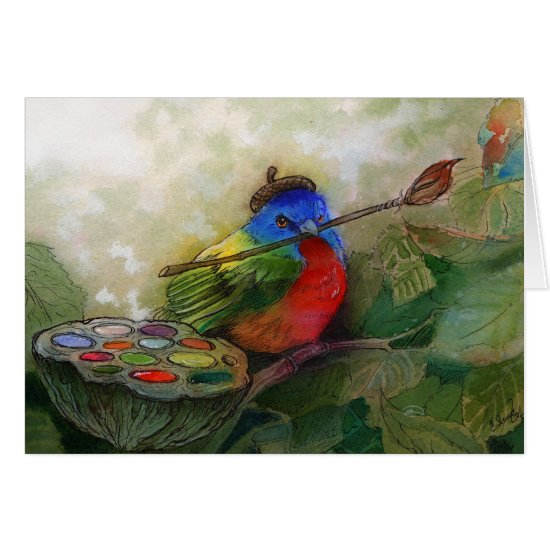 Painter Painted Bunting Bird Card