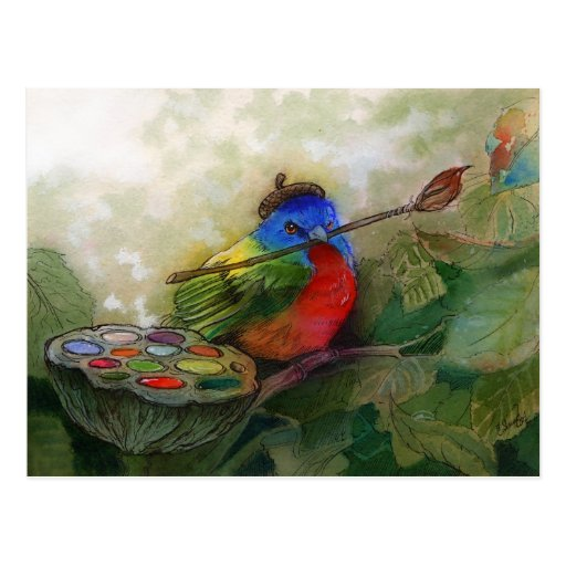 Painter Painted Bunting Bird Postcard