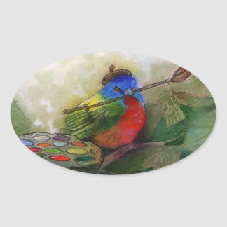 Painter Painted Bunting Bird Stickers