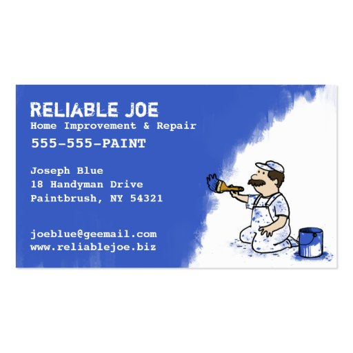 Painter Painting Blue Paint Business Card