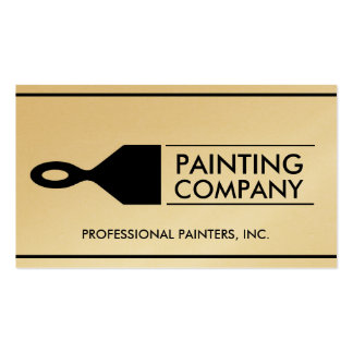 Painter Painting Contractor Paint Brush Gold Paper Business Card Templates