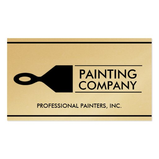 Painter painting contractor paint brush gold paper double for Painter business card template