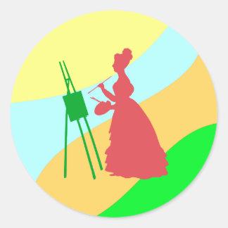 Painter paintress classic round sticker