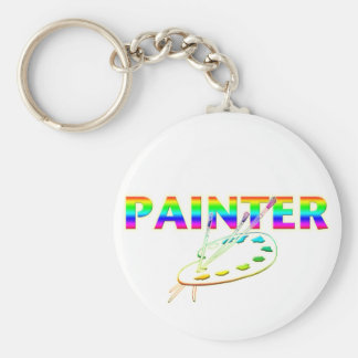 Painter Palette and Paint Brushes Basic Round Button Keychain