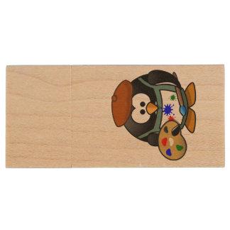Painter penguin cartoon wood USB 2.0 flash drive