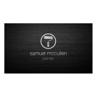 Painter Roller Brush Icon Brushed Metal Skills Business Card