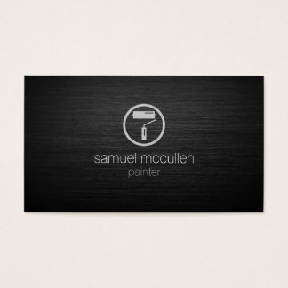 Painter Roller Brush Icon Brushed Metal Skills Business Card