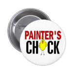 PAINTER'S CHICK PINBACK BUTTONS