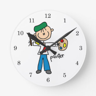 Painter Stick Figure Round Wallclocks