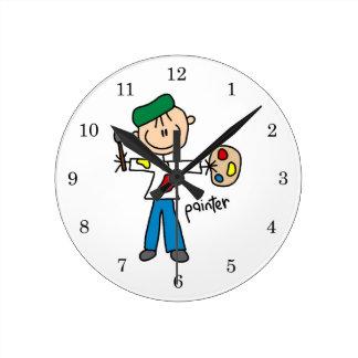 Painter Stick Figure Round Clock