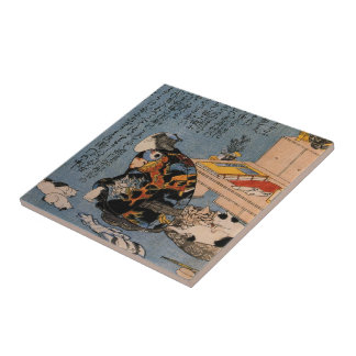 Painter who likes Cats, Utagawa Kuniyoshi Ceramic Tile