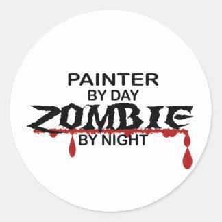 Painter Zombie Classic Round Sticker