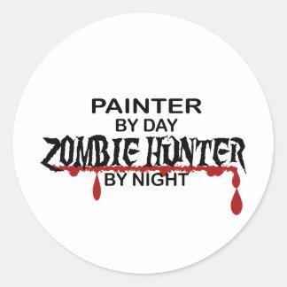 Painter Zombie Hunter Classic Round Sticker