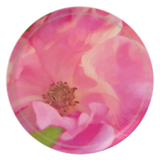 Painterly Abstract Pink Knockout Rose Melamine Plate