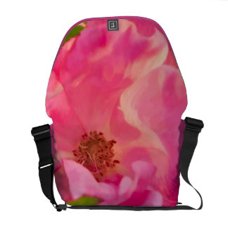 Painterly Abstract Pink Knockout Rose Messenger Bag