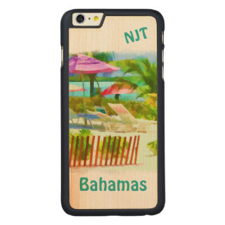 Painterly Bahamas Summer Vacation Beach Scene Carved Maple iPhone 6 Plus Case