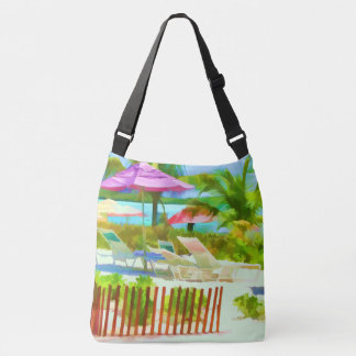 Painterly Bahamas Summer Vacation  Beach Scene Crossbody Bag