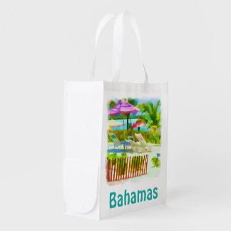 Painterly Bahamas Summer Vacation  Beach Scene Reusable Grocery Bag