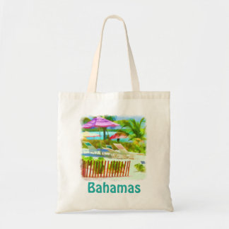 Painterly Bahamas Summer Vacation  Beach Scene Tote Bag