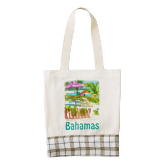 Painterly Bahamas Summer Vacation  Beach Scene Zazzle HEART Tote Bag
