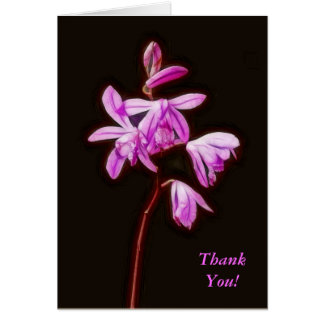 Painterly Bletilla Orchid Thank You Card