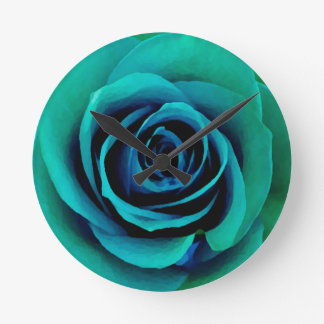 Painterly Blue, Green and Turquoise Rose Round Clock