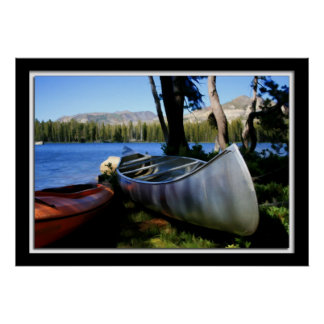 Painterly Canoes on Wrights Lake, CA Poster