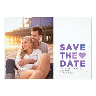 Painterly Confetti Modern Photo Save the Date Card
