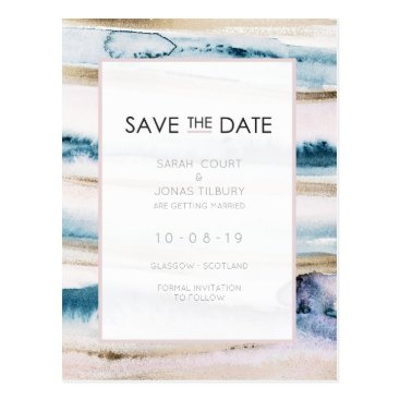 Wedding Themed Painterly Gold Wedding Save The Date Postcard