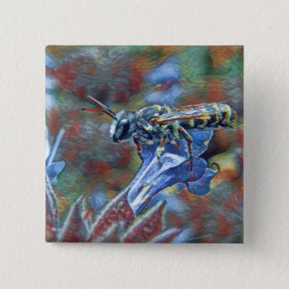 Painterly Leafcutter Bee Button