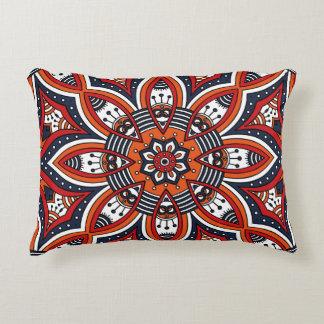 Painterly Nature Boho Floral Mandala Accent Pillow