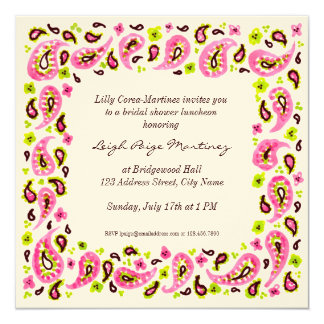 Painterly Paisley Border Invitation, Pink Green Sq 5.25x5.25 Square Paper Invitation Card
