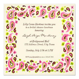 Painterly Paisley Border Invitation, Pink Green Sq Card