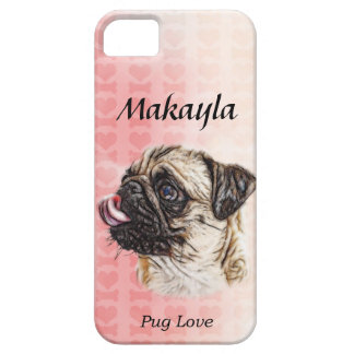 Painterly Pug Love in Watercolor iPhone SE/5/5s Case
