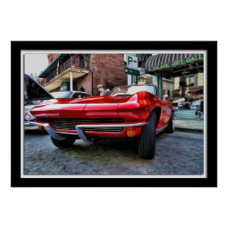 Painterly Red Corvette Poster