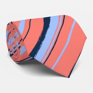 Painterly Striped Coral Two-Sided Wedding Tie