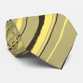 Painterly Striped Khaki, Brown & Yellow Two-Sided Tie