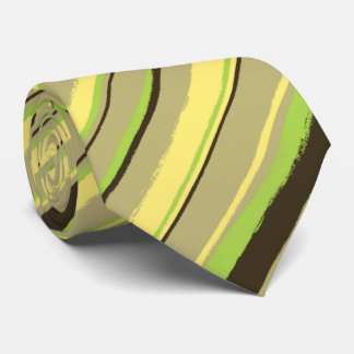 Painterly Striped Khaki, Yellow & Lime Two-Sided Tie