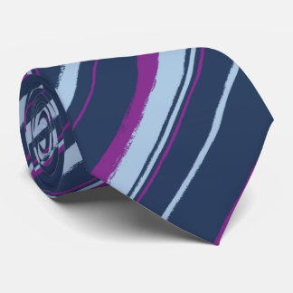 Painterly Striped Navy & Violet Two-Sided Tie