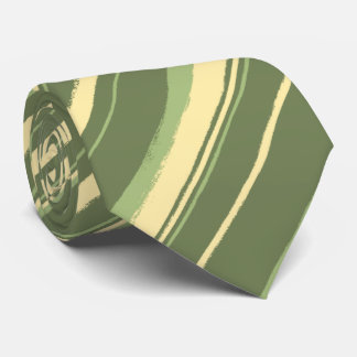 Painterly Striped Olive & Moss Green Two-Sided Tie