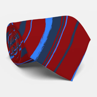 Painterly Striped Red & Navy Two-Sided Tie